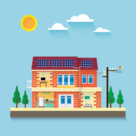 the house with electrical appliance use electric from solar cell roof top Illustration