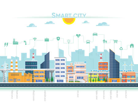 smart city with building and icon Çizim