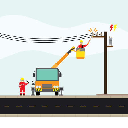 electric technician repair the electrical transmission line