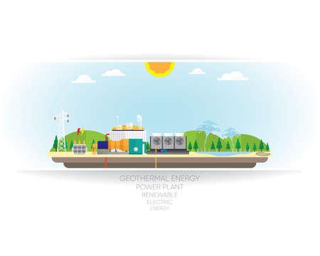 steam turbine: geothermal energy, geothermal power plant with steam turbine Illustration