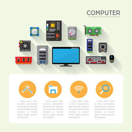 hardware computer in simple graphic