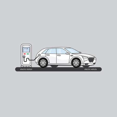 電気自動車、電気自動車の充電  イラスト・ベクター素材