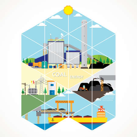 Image of coal energy with triangle graphic Illustration