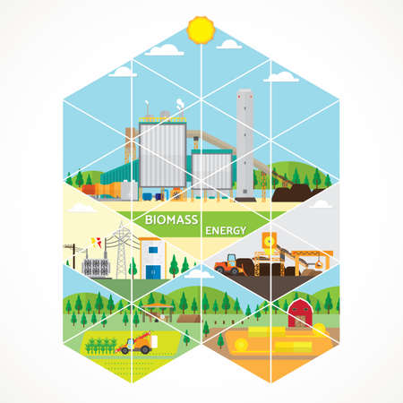 biomass power plant, biomass energy with steam turbine generate the electric Illustration