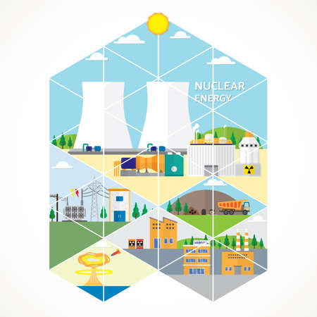 nuclear energy, nuclear power plant Illustration