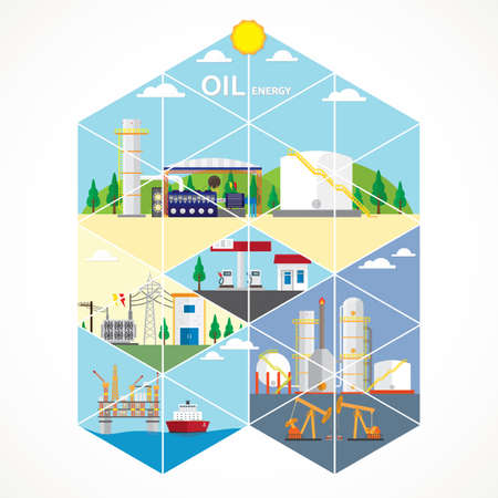 oil energy with diesel engine generate the electric Illustration