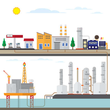 oil energy with offshore, industry plant to user energy Illustration