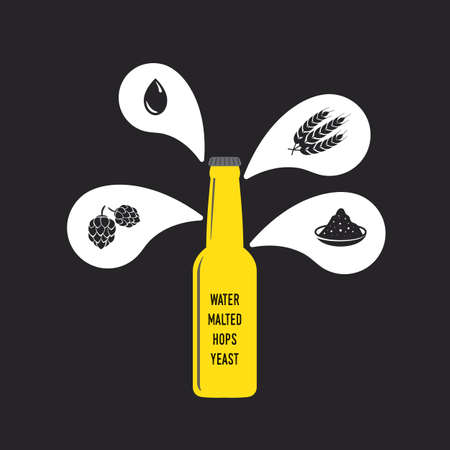 beer bottle with water, malts, hops and yeast icon Illustration