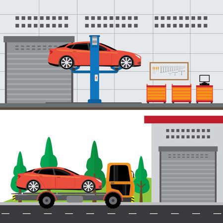 car service center building and workshop Illustration