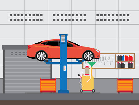 changing oil into a car Illustration