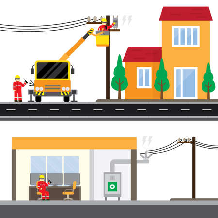 electric technician repair the electrical transmission line and isolate power with substation control