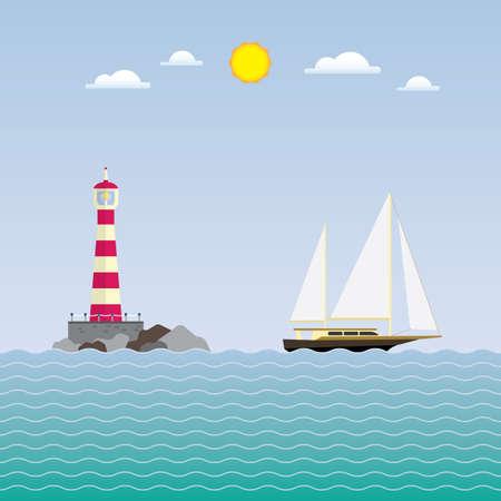 ヨットや灯台、灯台ヨット  イラスト・ベクター素材
