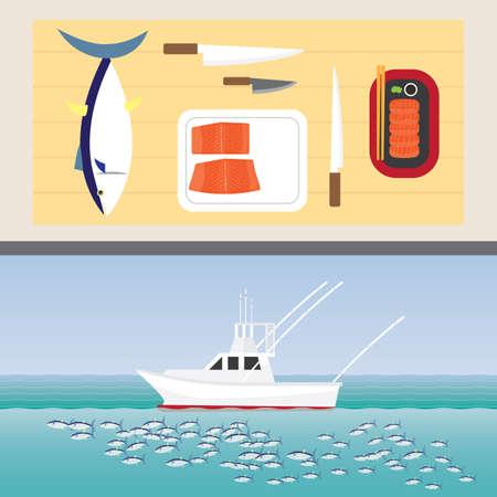 Tuna sashimi and tuna fishing boat. Illustration