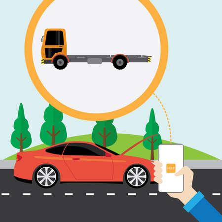 アプリケーションの携帯電話でヘルプカーサービスを呼び出します  イラスト・ベクター素材