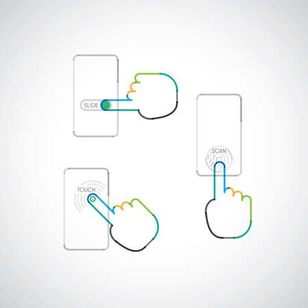 指タッチでスマート フォンを使用して、スライドやタッチ スクリーン上をスキャン