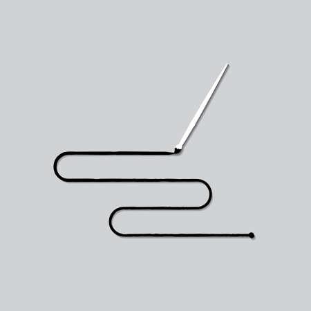 針と糸は黒い色と線と