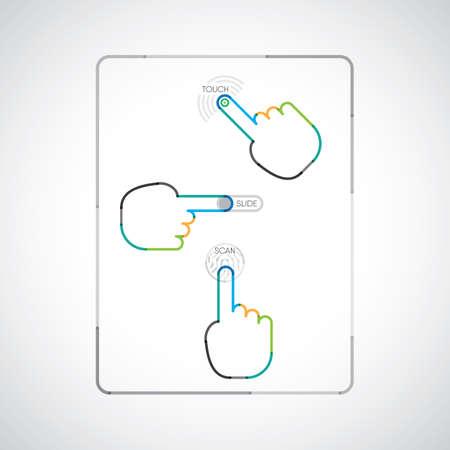 スマート フォンを使用し指のタッチ、スライド、タッチ スクリーン上でスキャン