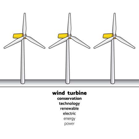 風力タービン電気を生成するテキストと単純なグラフィックで