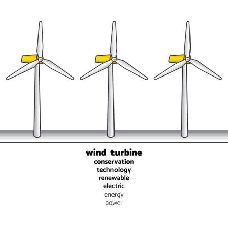 wind turbine generate the electric in simple graphic with text