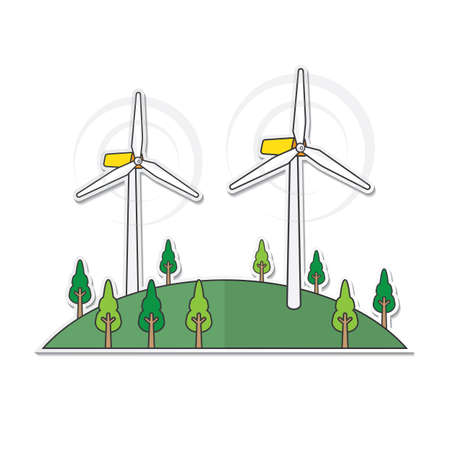 wind turbine location on the hill in simple graphic Çizim