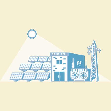 太陽電池で太陽のエネルギーは、シンプルなグラフィックで電気を生成します。  イラスト・ベクター素材