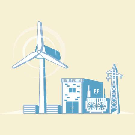 風力エネルギー風力タービンと電気を生成するシンプルなグラフィックで