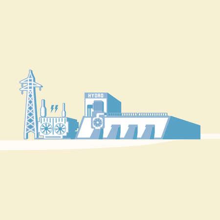 ダムと水力タービン水力エネルギーは、シンプルなグラフィックで電気を生成します。  イラスト・ベクター素材