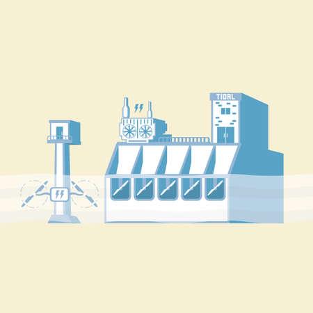 getijdenenergie met dam en onder water turbine genereren de elektrische in eenvoudige grafische weergave Stock Illustratie