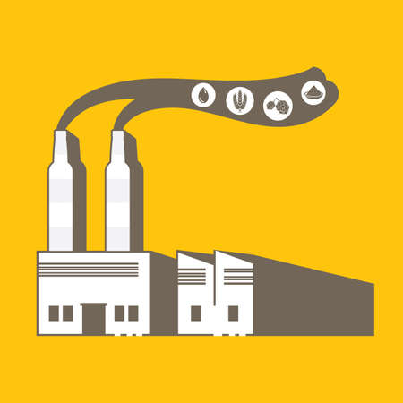 beer factory in simple graphic with smokestack in beer bottle shape Çizim