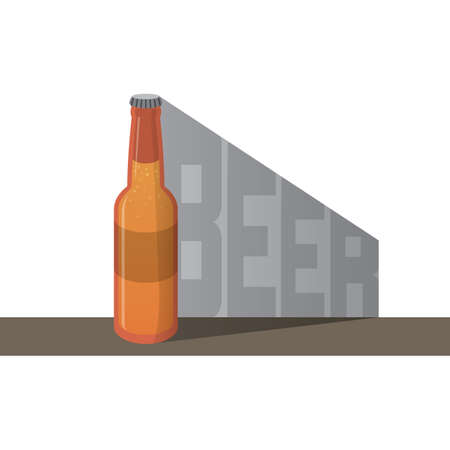 Small size bottle of beer and shadow with beer text