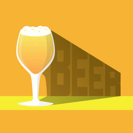 The glass of beer and shadow with beer text, craft beer