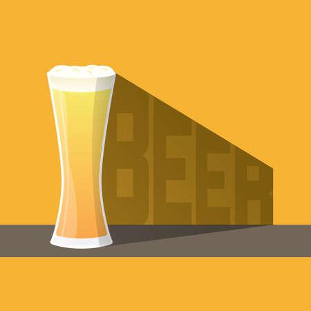 ビールとビール テキスト、クラフト ビールと影のガラス