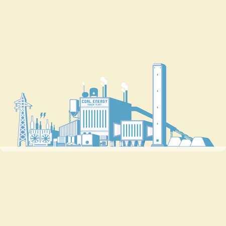ボイラーと蒸気タービンと石炭エネルギーは、簡単なグラフィックで電気を生成します