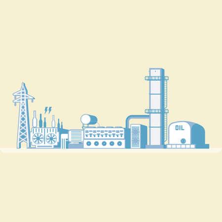 ディーゼルエンジンを搭載した石油エネルギーは、シンプルなグラフィックで電気を生成します