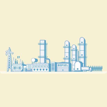 バイオ燃料発電アイコン。  イラスト・ベクター素材