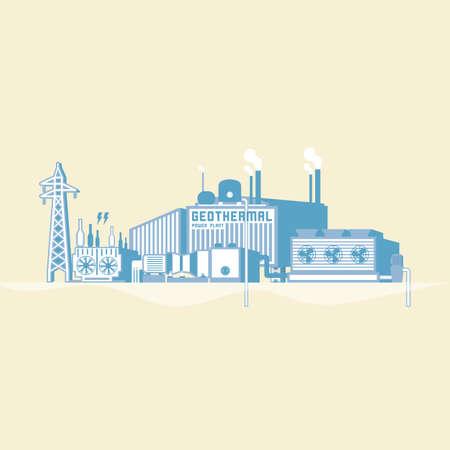 地熱発電所のアイコン。  イラスト・ベクター素材