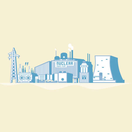 Nuclear power plant icon. Illusztráció