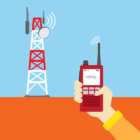 hand holding walky talky with radio tower as background Illustration