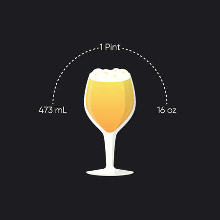 Glass of beer, craft beer glass with compare measurement.  イラスト・ベクター素材
