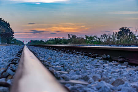 railway in morning with sunrise Stok Fotoğraf