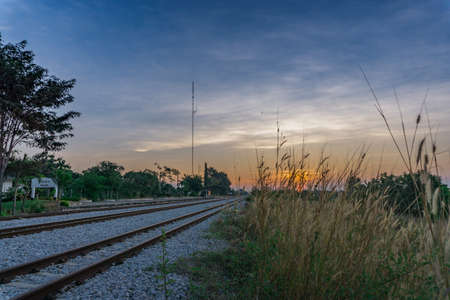 railway in morning with sunrise Stok Fotoğraf - 92498872