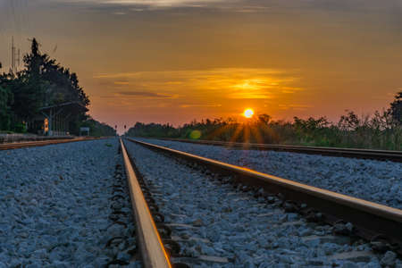 railway in morning with sunrise 写真素材