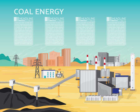 Coal energy with boiler and steam turbine generate the electric supply to the city and industrial
