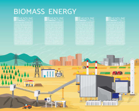 Biomass energy, biomass power plant with boiler and seam turbine generate the electric supply to the city and industrial Banco de Imagens - 93380640