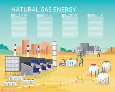 Gas energy with gas turbine generate the electric supply to the city and industrial in simple graphic