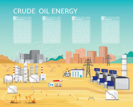 Oil energy with diesel engine generate the electric supply to the city and industrial in simple graphic