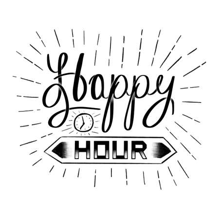 Happy hour calligraphy on white background illustration.
