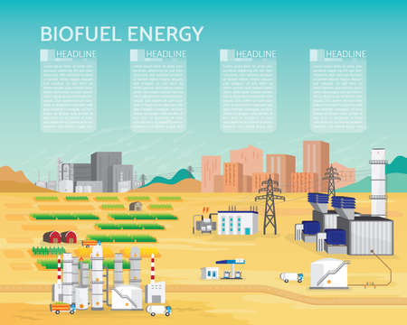 bio fuel energy, bio fuel energy power plant with diesel engine generate the electric supply to the city and industrial in simple graphic Illustration