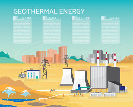 geothermal energy, geothermal power plant with boiler and steam turbine generate the electric  supply to the city and industrial Illustration