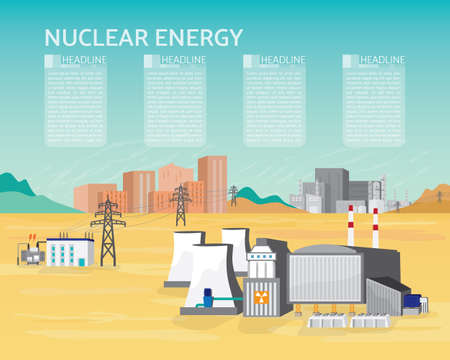 nuclear energy, nuclear power plant with boiler and steam turbine generate the electric supply to the city and industrial